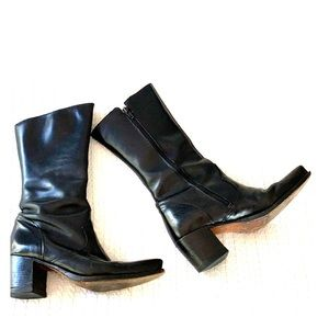 DKNY black  leather Cowboy booties